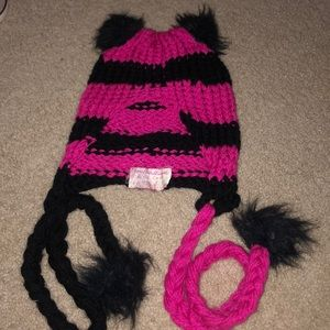 Pink and black striped beanie with ears